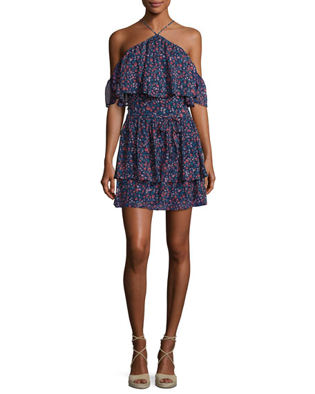 Darya Floral-Print Silk Mini Dress, Indigo