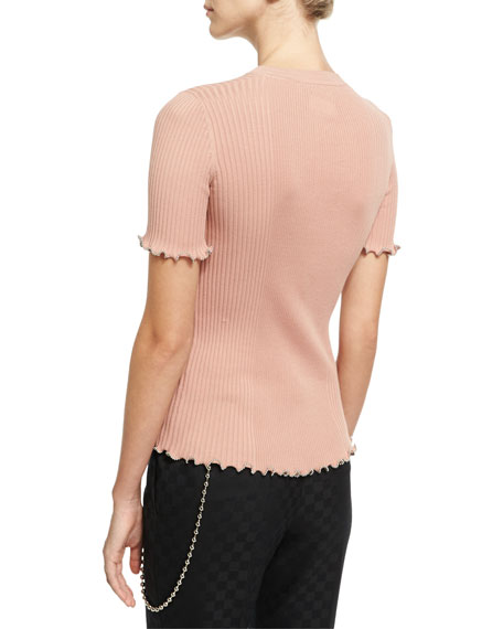 Ribbed Short-Sleeve Sweater, Light Pink