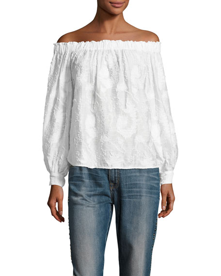 Geneva Off-The-Shoulder Embroidered Top, White