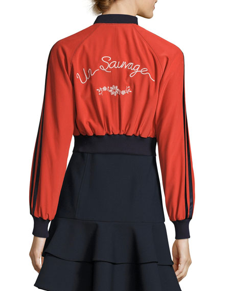 Emerson Embroidered Silk Bomber Jacket