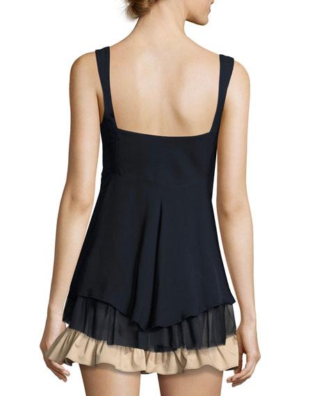 Zanna Sleeveless Ruffled Silk Tank Top, Navy