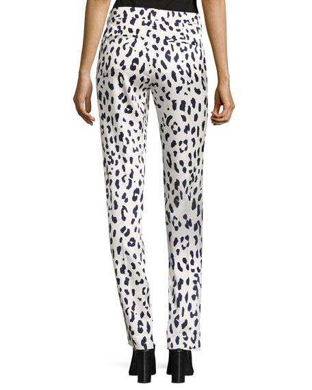 Cheetah-Print Satin Pants, Ivory
