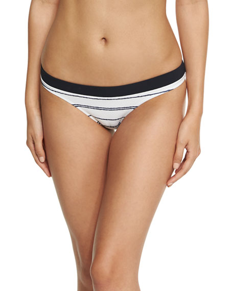 Image 1 of 1: Nassau Striped Hipster Swim Bikini Bottom, White