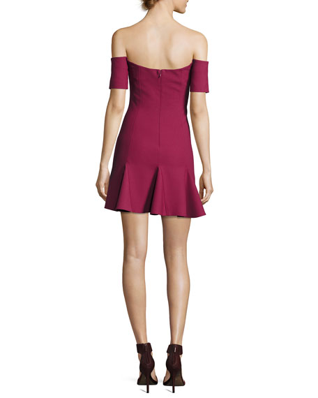 Elva Off-the-Shoulder Mini Dress, Wine
