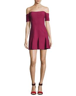 Elva Off-the-Shoulder Mini Dress, Wine