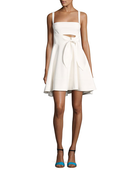 cinq a sept Nyma Front-Tie Sleeveless Mini Dress,