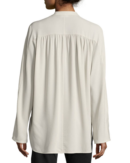 68bf7968d1dd1 Vince Shirred Long-Sleeve Silk Blouse