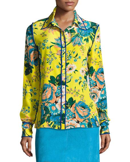 b85e500a Diane von Furstenberg Floral-Print Long-Sleeve Silk Shirt, Multicolor