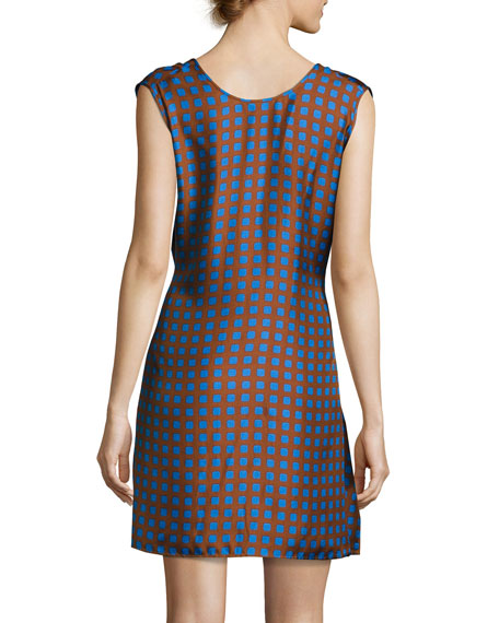 Crossover Sleeveless Tie-Front Silk Dress, Multi