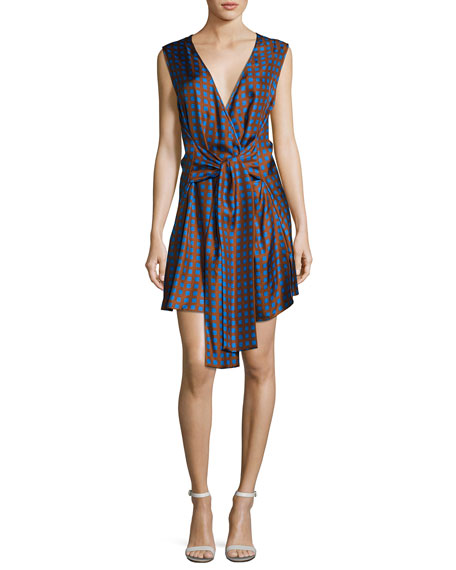 Diane von Furstenberg Crossover Sleeveless Tie-Front Silk Dress,