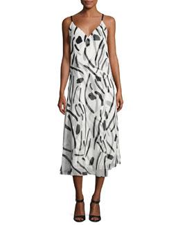 V-Neck Crossover Silk Dress, White Chatham Print