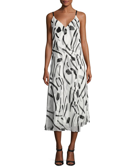 Diane von Furstenberg V-Neck Crossover Silk Dress, White