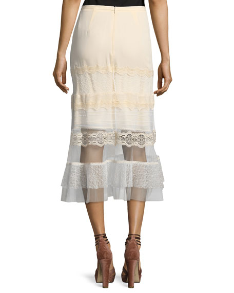 Threaded Tulle Lace Ruffle Midi Skirt