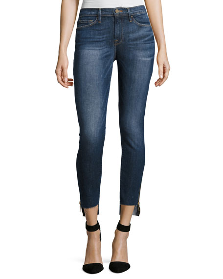 FRAME Le Skinny Raw Stagger Zip Jeans, Blue