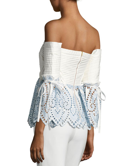 Off-the-Shoulder Broderie Top, Blue