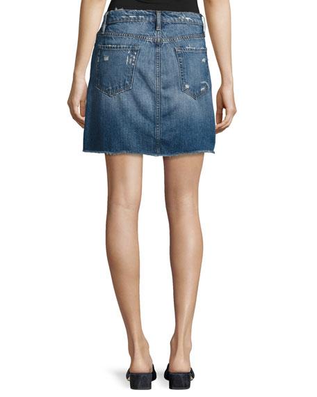 Le Mini Raw-Edge Denim Skirt, Blue