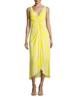 Katherina Sleeveless Maxi Dress, Yellow Pattern