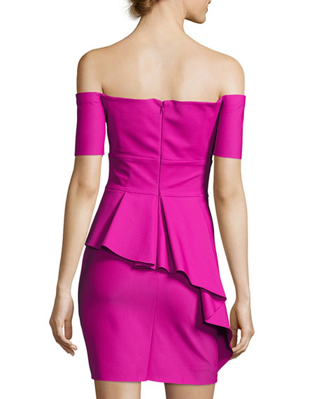 Vanessa Off-the-Shoulder Peplum Stretch Cocktail Dress
