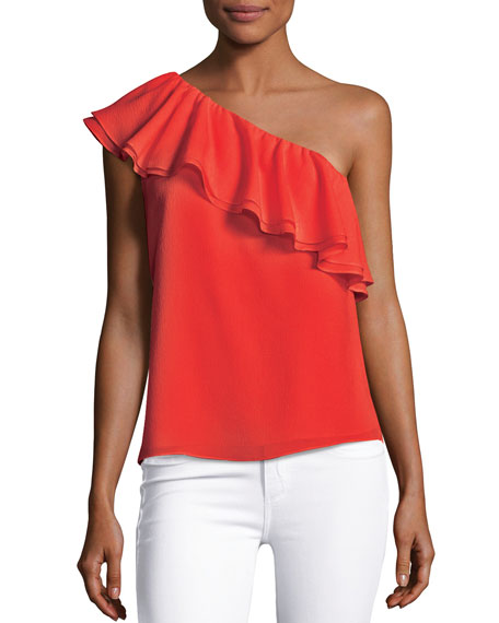 One-Shoulder Ruffled Silk Top, Pink Multi