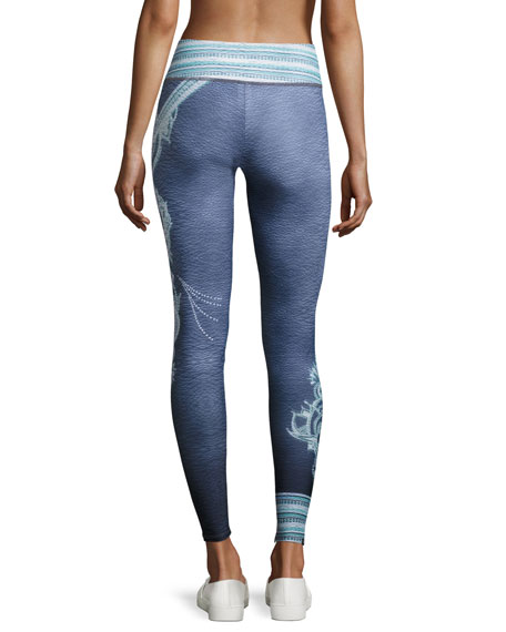 Graphic Full-Length Performance Leggings, Gray Pattern
