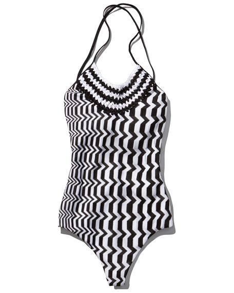 Greca Bicolor One-Piece Swimsuit, Black/White Multi
