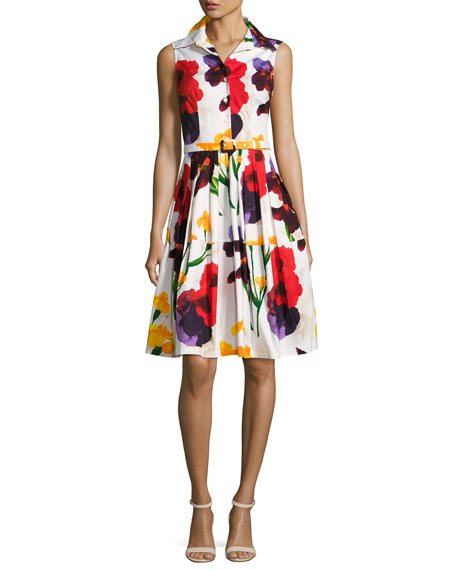 Claire Sleeveless Splatter-Print Shirtdress, White/Red