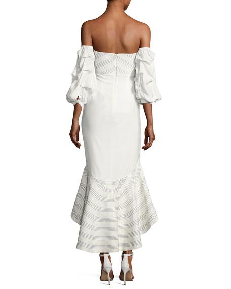 Zuki High-Low Off-the-Shoulder Dress, White