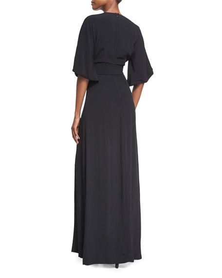 Mirren V-Neck Slit Maxi Dress, Black