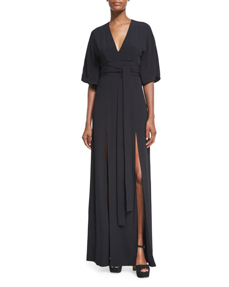 Alexis Mirren V-Neck Slit Maxi Dress, Black