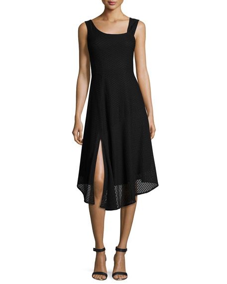 First Mate Sleeveless Asymmetric Stretch Mesh Dress, Black