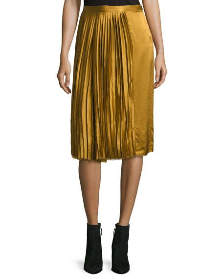 Gamil Pleated Sateen Silk Midi Skirt, Brown