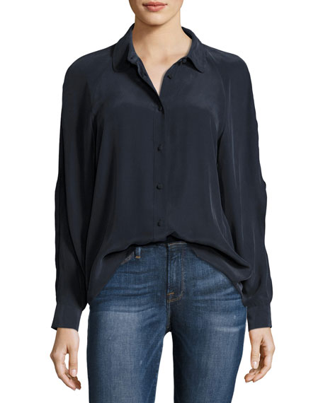 Slit Sleeve Silk Blouse, Navy
