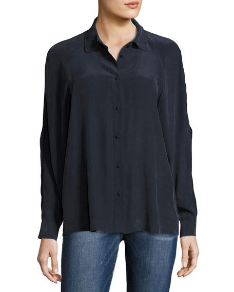 Slit Sleeve Silk Blouse, Navy