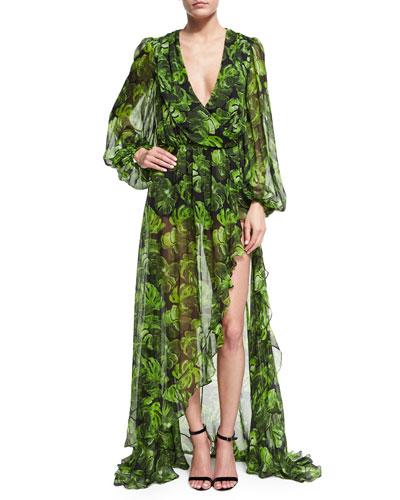 Olivia Leaf-Print Asymmetric Gown, Black