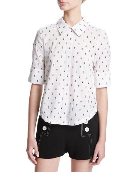 Derek Lam 10 Crosby Tie-Back Shirt W/ Button