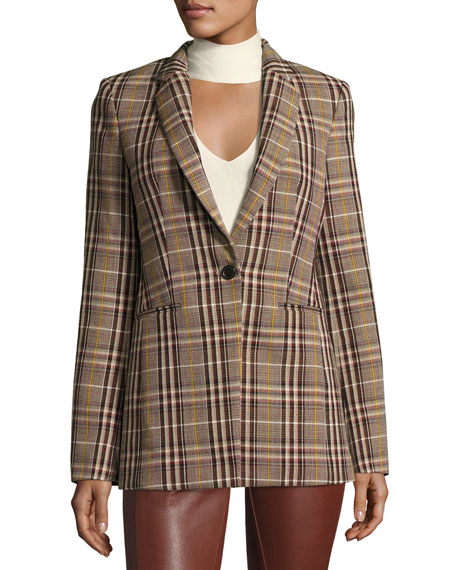 Power Bexley Plaid Wool Blazer Jacket, Multi