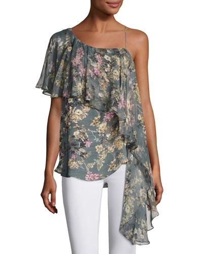 Your Girl Asymmetric Floral Silk Dress  Multi