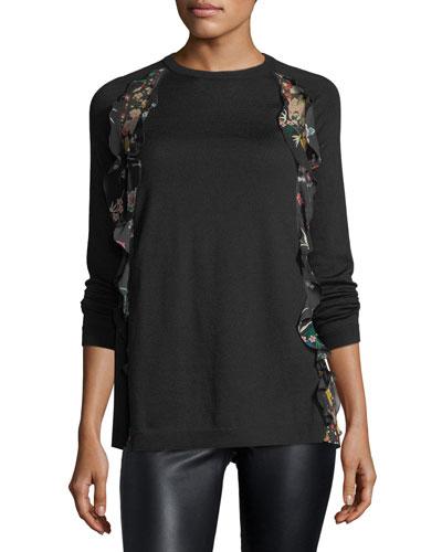 Wool Sweater w/ Floral-Print Ruffle