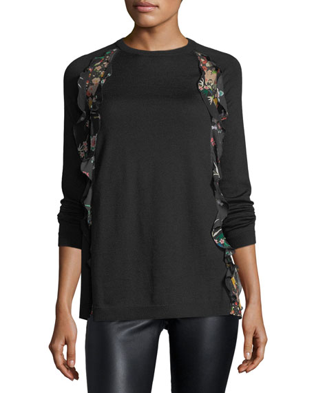 RED Valentino Wool Sweater w/ Floral-Print Ruffle