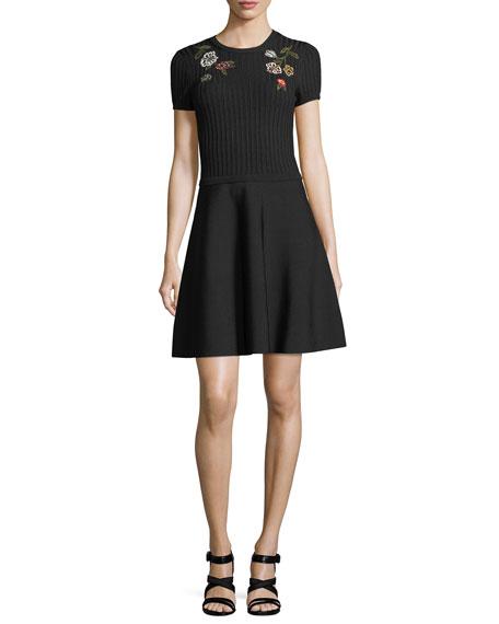 Crewneck Short-Sleeve Knit Dress w/ Floral Embroidery