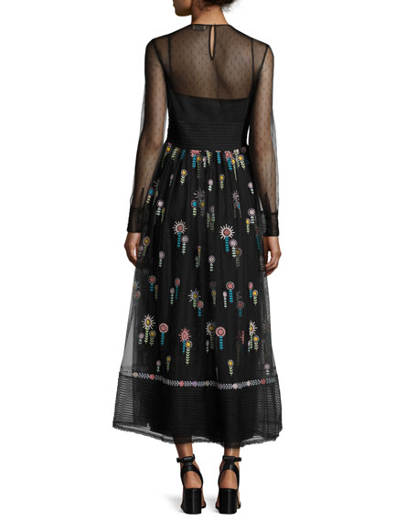 High-Neck Long-Sleeve Point D'esprit Embroidered Dress