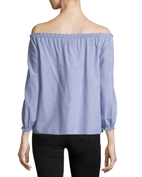 Bamboo Off-the-Shoulder Striped Cotton Top