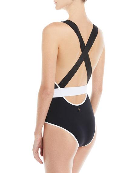 Deep V Belted One-Piece Swimsuit, Orange