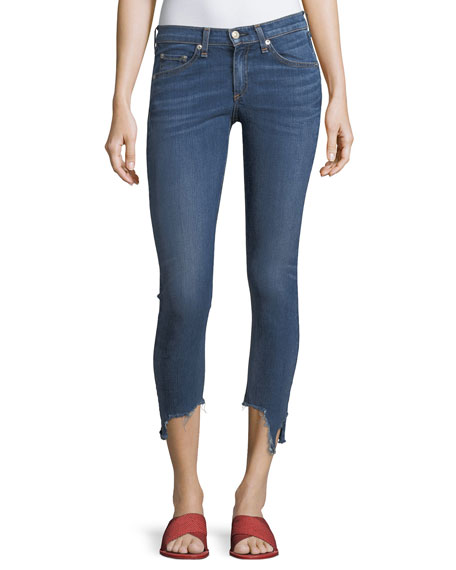 "High-Rise 10"" Capri Jeans w/ Destroyed Hem"