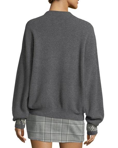 Crystal-Cuff Crewneck Sweater