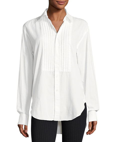 Jaden Big Shirt with Pintucked Front, White