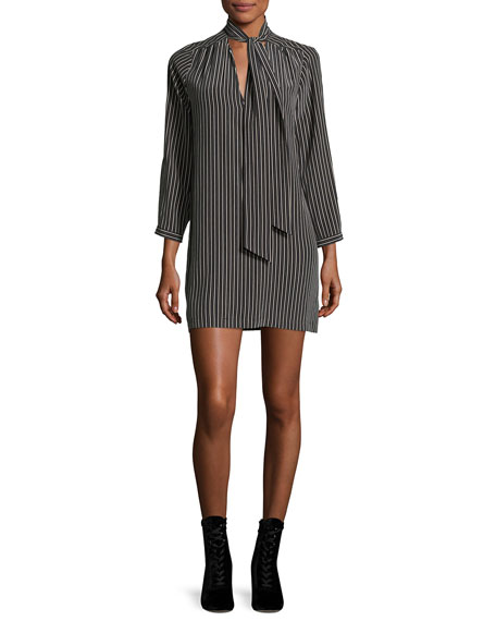 Warley Striped Silk Mini Dress, Black