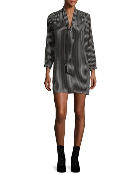 Joie Warley Striped Silk Mini Dress, Black
