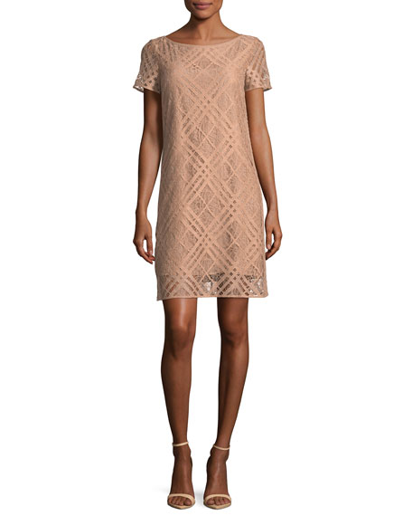 Short-Sleeve Check Lace Dress