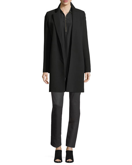 Daryn Long-Sleeve Silk Blouse w/ Knit Combo